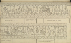 Narrative sculpture on the south side of the Amritesvara Temple at Amritpur, 1805. Seventh panel of the Ramayana frieze